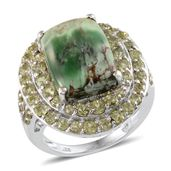 Utah Variscite, Hebei Peridot Platinum Over Sterling Silver Ring (Size 7.0) TGW 11.910 cts.