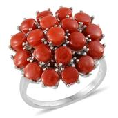 Mediterranean Coral, Mozambique Garnet Platinum Over Sterling Silver Ring (Size 5.0) TGW 7.000 cts.