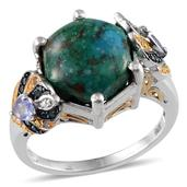 Table Mountain Shadowkite, Multi Gemstone 14K YG and Platinum Over Sterling Silver Ring (Size 7.0) TDiaWt 0.07 cts, TGW 8.900 cts.