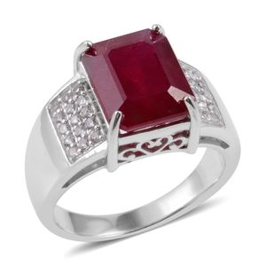 Niassa Ruby, White Topaz Sterling Silver Ring (Size 6.0) TGW 10.100 cts.