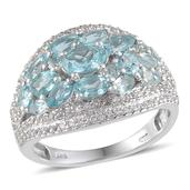 Madagascar Paraiba Apatite, White Topaz Platinum Over Sterling Silver Ring (Size 7.0) TGW 4.130 cts.