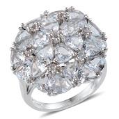 Espirito Santo Aquamarine Platinum Over Sterling Silver Ring (Size 9.0) TGW 8.650 cts.