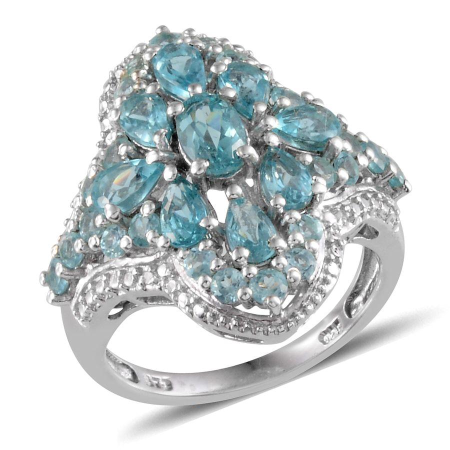 Madagascar Paraiba Apatite, Diamond Platinum Over Sterling Silver Ring (Size 7.0) TDiaWt 0.05 cts, TGW 5.380 cts.