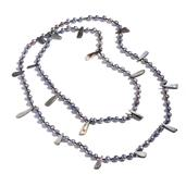 Freshwater Peacock Pearl, Shell Necklace (48 in)