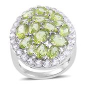Hebei Peridot, White Topaz Cluster Sterling Silver Ring (Size 9.0) TGW 10.850 cts.