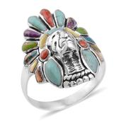 Santa Fe Style Turquoise, Mojave Purple, Green and Blue Turquoise, Yellow Mother of Pearl, Spiny Oyster Shell Red Ring in Sterling Silver Nickel Free (Size 6.5) TGW 3.202 cts.