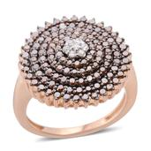 Diamond, Orange Diamond 14K RG Over Sterling Silver Ring (Size 8.0) TDiaWt 1.03 cts, TGW 1.030 cts.