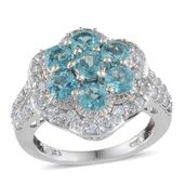 Madagascar Paraiba Apatite, White Topaz Platinum Over Sterling Silver Ring (Size 7.0) TGW 4.25 cts.