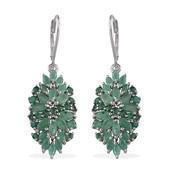 Kagem Zambian Emerald Platinum Over Sterling Silver Lever Back Earrings TGW 5.80 Cts.