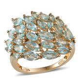 Madagascar Paraiba Apatite 14K YG Over Sterling Silver Ring (Size 9.0) TGW 4.850 cts.