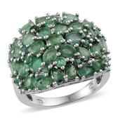 Kagem Zambian Emerald Platinum Over Sterling Silver Ring (Size 7.0) TGW 4.340 cts.