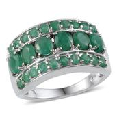 Kagem Zambian Emerald Platinum Over Sterling Silver Ring (Size 7.0) TGW 3.650 cts.