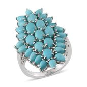Sonoran Blue Turquoise Platinum Over Sterling Silver Ring (Size 7.0) TGW 8.700 cts.
