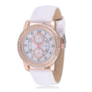 STRADA Austrian Crystal Japanese Movement Watch with White Band and Stainless Steel Back