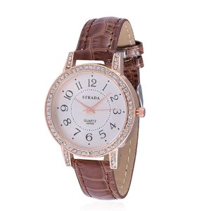 STRADA Austrian Crystal Japanese Movement Watch with Brown Band and Stainless Steel Back