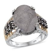 Marvelous Meteorites, Thai Black Spinel 14K YG and Platinum Over Sterling Silver Ring (Size 7.0) TGW 18.900 cts.