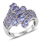 Tanzanite Platinum Over Sterling Silver Ring (Size 7.0) TGW 3.490 cts.
