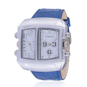 STRADA Japanese Movement Watch with Blue Band Stainless Steel Back
