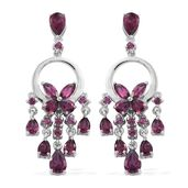 Orissa Rhodolite Garnet Platinum Over Sterling Silver Earrings TGW 5.36 cts.