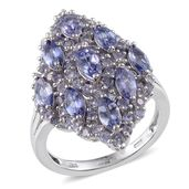 Tanzanite Platinum Over Sterling Silver Elongated Ring (Size 8.0) TGW 4.52 cts.