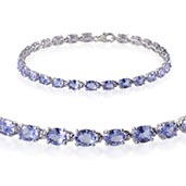 Tanzanite Platinum Over Sterling Silver Bracelet (7.50 In) TGW 10.100 cts.