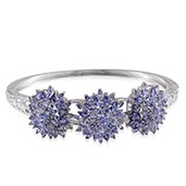 Tanzanite Platinum Over Sterling Silver Bangle TGW 14.470 cts.