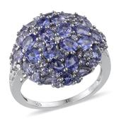 Tanzanite Platinum Over Sterling Silver Cluster Ring (Size 9.0) TDiaWt 0.01 cts, TGW 4.330 cts.