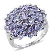 Tanzanite Platinum Over Sterling Silver Cluster Ring (Size 8.0) TGW 6.510 cts.