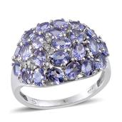 Tanzanite, Diamond Platinum Over Sterling Silver Ring (Size 8.0) TDiaWt 0.12 cts, TGW 4.495 cts.