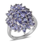 Tanzanite Platinum Over Sterling Silver Cluster Ring (Size 6.0) TGW 4.450 cts.