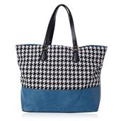 J Francis - Houndstooth Pattern Blue Faux Leather Handbag (18x5x13 in)
