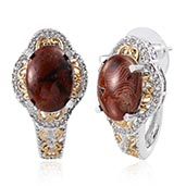 Red Lace Agate, White Topaz 14K YG and Platinum Over Sterling Silver J-Hoop Earrings TGW 10.980 cts.