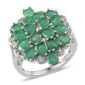 Kagem Zambian Emerald, White Topaz Platinum Over Sterling Silver Ring (Size 8.0) TGW 4.920 cts.