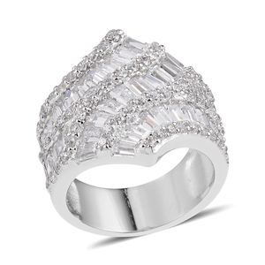 Simulated Diamond Sterling Silver Ring (Size 6.0) TGW 7.620 cts.