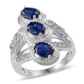 Himalayan Kyanite, White Topaz Platinum Over Sterling Silver Ring (Size 6.0) TGW 2.900 cts.