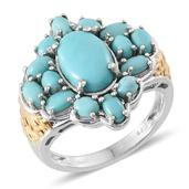 Sonoran Blue Turquoise 14K YG and Platinum Over Sterling Silver Ring (Size 8.0) TGW 6.500 cts.