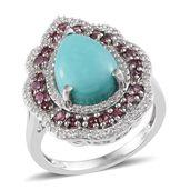Sonoran Blue Turquoise, White Topaz, Orissa Rhodolite Garnet Platinum Over Sterling Silver Ring (Size 7.0) TGW 6.200 cts.