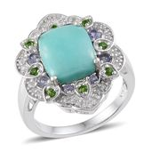 Sonoran Blue Turquoise, Russian Diopside, Catalina Iolite, White Topaz Platinum Over Sterling Silver Ring (Size 7.0) TGW 6.360 cts.