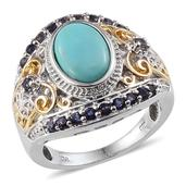 Sonoran Blue Turquoise, Catalina Iolite 14K YG and Platinum Over Sterling Silver Ring (Size 7.0) TGW 3.750 cts.
