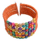 Wooden and Multi Color Seed Beads Cuff Bracelet