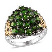 Russian Diopside 14K YG and Platinum Over Sterling Silver Openwork Cluster Ring (Size 8.0) TGW 6.50 cts.