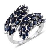 Kanchanaburi Blue Sapphire Platinum Over Sterling Silver Modern Bypass Ring (Size 8.0) TGW 5.700 cts.