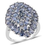Kanchanaburi Blue Sapphire Platinum Over Sterling Silver Ring (Size 7.0) TGW 7.80 cts.