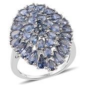 Kanchanaburi Blue Sapphire Platinum Over Sterling Silver Ring (Size 7.0) TGW 7.795 cts.