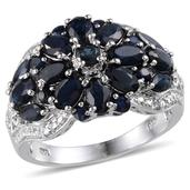 Kanchanaburi Blue Sapphire, Diamond Platinum Over Sterling Silver Ring (Size 7.0) TDiaWt 0.03 cts, TGW 4.680 cts.