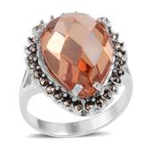 Simulated Orange Diamond (Pear 19.85 Ct), Swiss Marcasite Ring in Sterling Silver Nickel Free (Size 8) TGW 19.85 Cts.