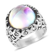 Aurora Borealis Glass, Austrian Crystal Stainless Steel Ring (Size 7.0)