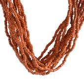 Orange and Silvertone Seed Beads Necklace