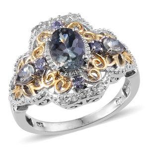 Bondi Blue Tanzanite, White Topaz, Tanzanite 14K YG and Platinum Over Sterling Silver Ring (Size 6.0) TGW 2.500 cts.
