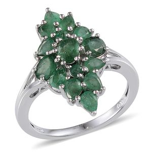 Kagem Zambian Emerald Platinum Over Sterling Silver Ring (Size 5.0) TGW 3.150 cts.